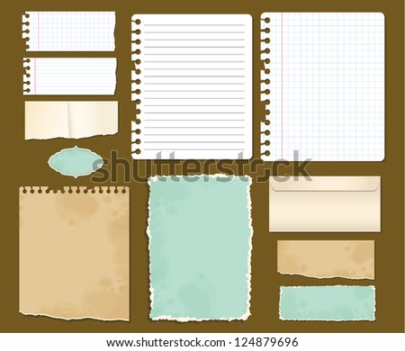 Set various colored paper - stock vector