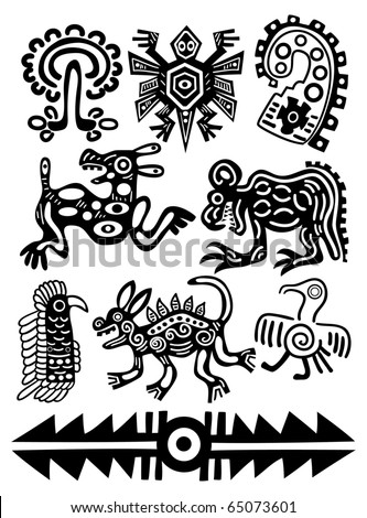 Set - vector American Indian traditional patterns - stock vector