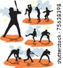 set vector baseball silhouettes - stock vector