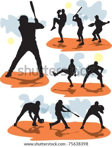 set vector baseball silhouettes - stock vector