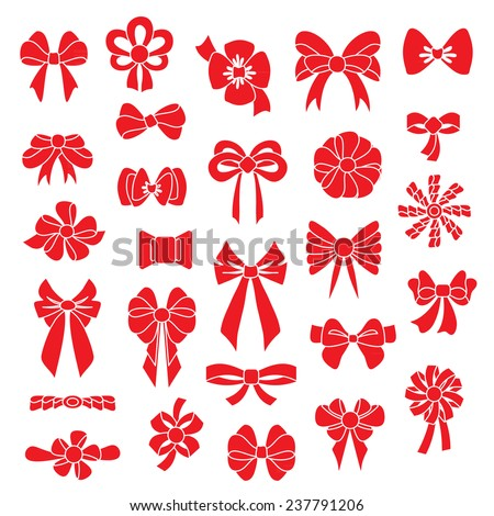 Set vector bows of different shapes red color - stock vector