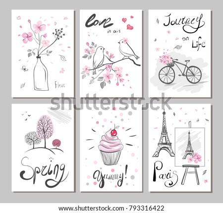 Set Vector Cards With Hand Drawn Illustration Sticker Eiffel Tower Bird Hearts