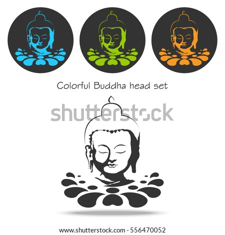 Set vector color buddha head on lotus flower. Colorful vector icon