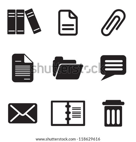 set vector computer icons of email message and letter - stock vector