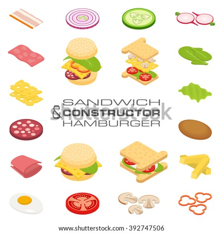 Set vector constructor isometric sandwich and hamburger ingredients: ham, cheese, egg, onion, tomato, cucumber, mushrooms, radishes, salad, cutlet, potato and pepper