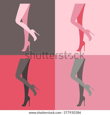set vector contour of female legs in high heels