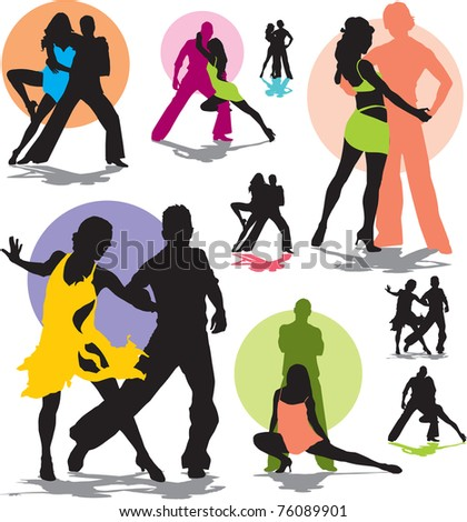 set vector dance couple silhouettes - stock vector