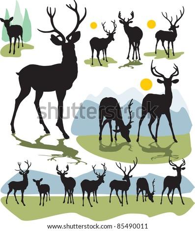 set vector deer silhouettes - stock vector