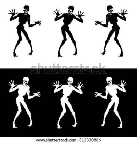 Set vector design elements zombie isolated on white and black background