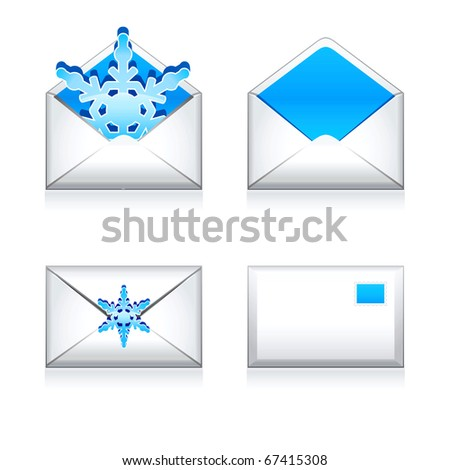 Set vector  e mail icon with snowflake. - stock vector