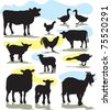 set vector farm animals silhouettes - stock vector