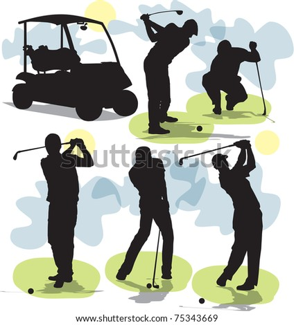set vector Golf silhouettes - stock vector