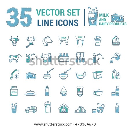 Set Vector Graphic Thin Outline Icons Stock Vector 478384678