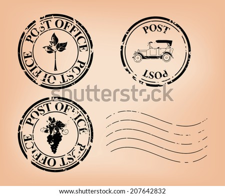 set -  vector grungy post stamps. Eps 8. - stock vector