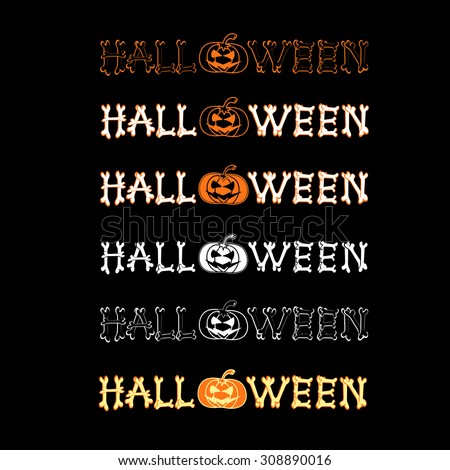 SET vector halloween logo on black background. All elements are saved also and as a brush. - stock vector