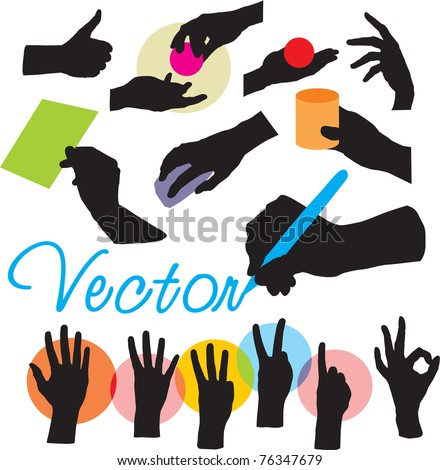 set vector hands silhouettes - stock vector