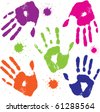 set vector human hand prints - stock vector