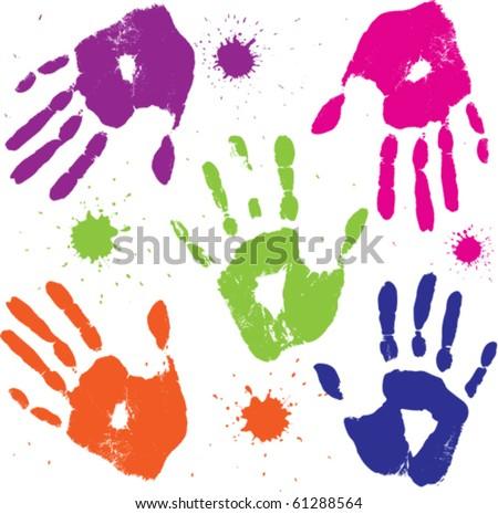 set vector human hand prints - stock vector