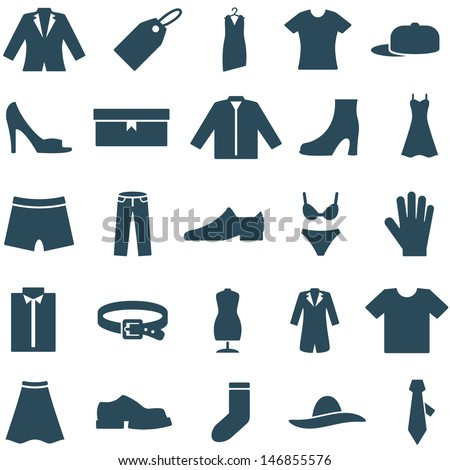 Set vector icons clothes and accessories. Collection of icons can be used in web design, mobile applitsations, for decoration shops. The file is EPS10 format, can be increased without loss of quality. - stock vector