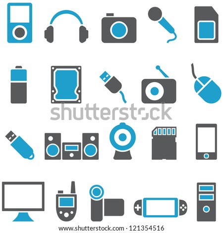 Set vector icons electronics and gadgets. Signs can be used as buttons for web design, and for other purposes. - stock vector