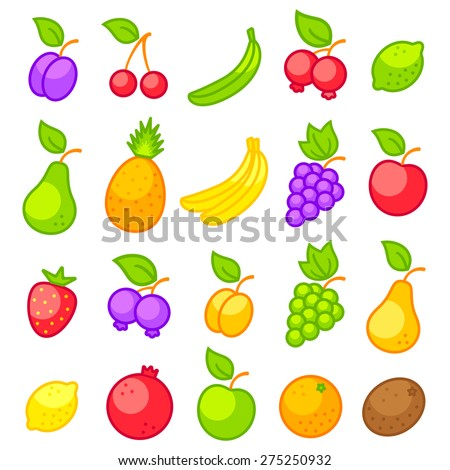 Set vector icons of a fresh fruits - stock vector