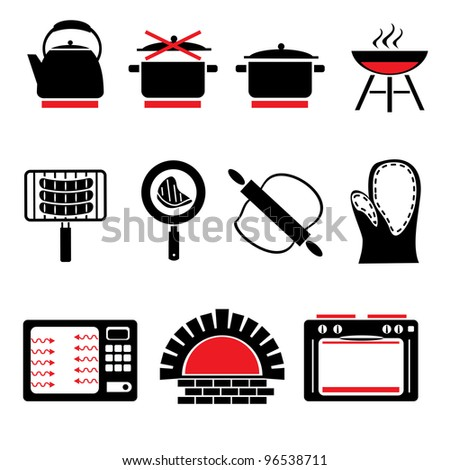 set vector icons of cooking food and cookware - stock vector