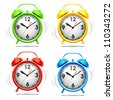 Set vector illustration of a alarm clock. - stock photo