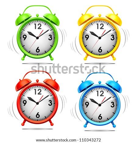 Set vector illustration of a alarm clock. - stock vector