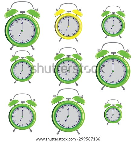 Set vector illustration of a alarm clock on a white background - stock vector