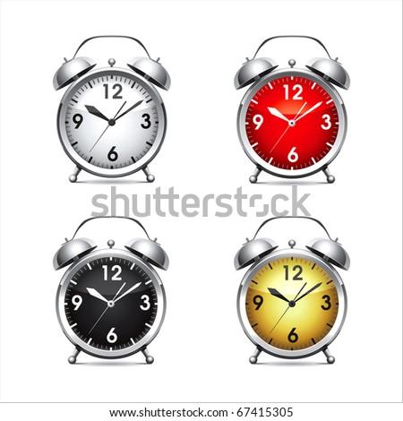 Set vector  illustration of a metal alarm clock. - stock vector