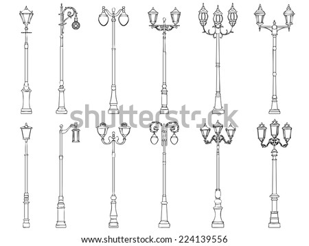 Set vector illustrations of vintage artistic decorative lamppost (drawn in ink). - stock vector
