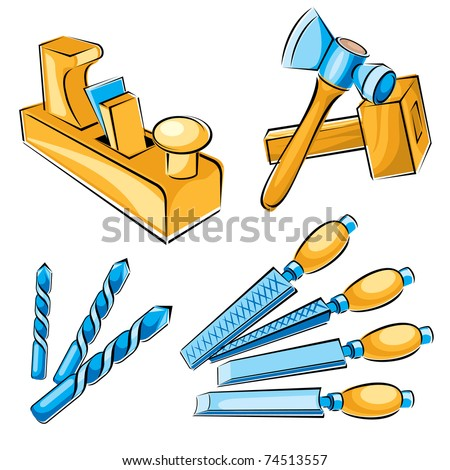 set vector images of hand tools for a joiner - stock vector