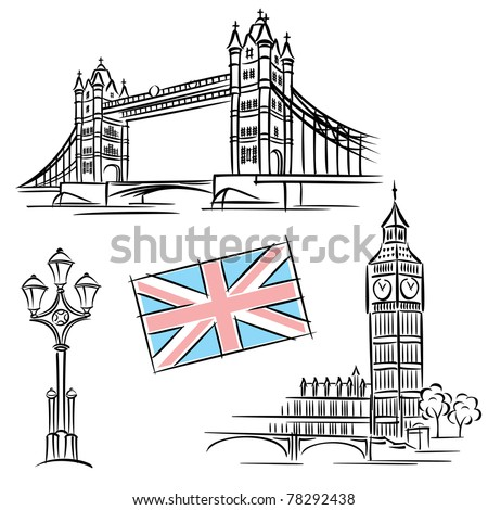 set vector images of london landmark and attraction - stock vector