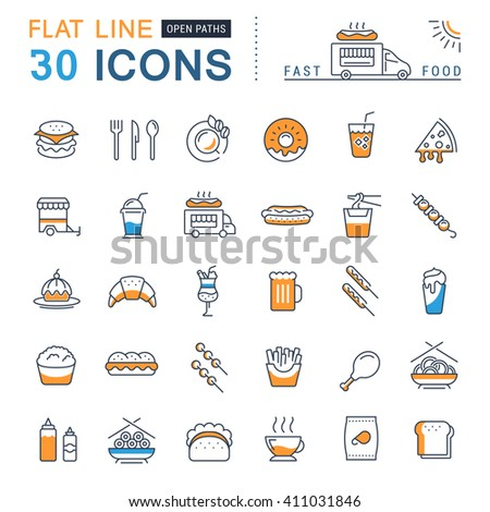 Set vector line icons in flat design fast food and Chinese food with elements for mobile concepts and web apps. Collection modern infographic logo and pictogram. - stock vector