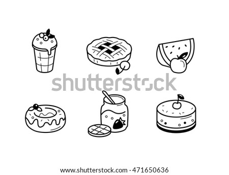 Set vector line icons in flat design food restaurants and cafes with elements for mobile concepts and web.