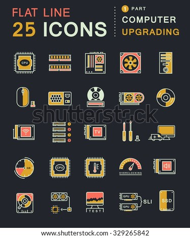 Set vector line icons in flat design upgrading computer and hardware, overclocking, cooling, test cpu and gpu with elements for mobile concepts and web apps. Collection modern infographic logo - stock vector
