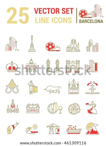 Set vector line icons in flat design with  Barcelona elements for mobile concepts and web apps. Collection modern infographic logo and pictogram.