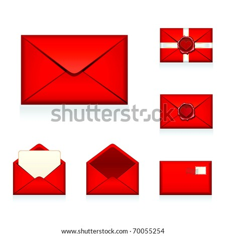 Set vector red e-mail, envelop icons with heart wax press.For Valentine Day. - stock vector