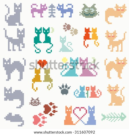 Set vector retro pixel cat - stock vector
