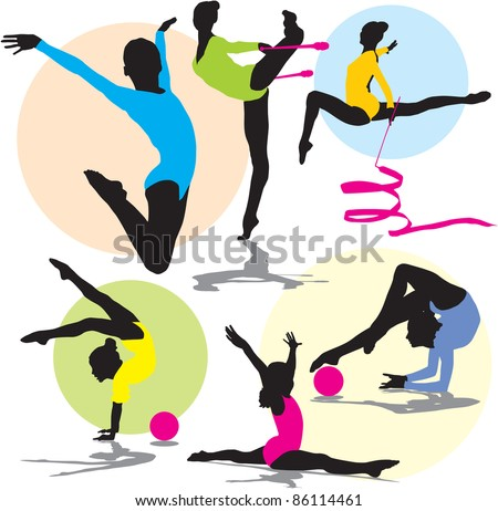 set vector rhythmic gymnastics silhouettes - stock vector