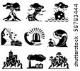 set vector silhouette icons of natural disaster - stock photo