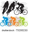 set vector silhouettes cyclists - stock vector
