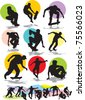 set vector silhouettes of skaters - stock vector