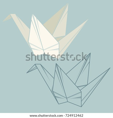 Set vector simple illustration paper origami and contour drawing of crane.