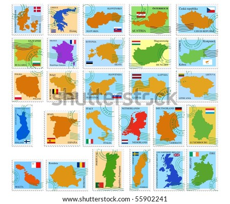 Set vector stamps of European Union - stock vector