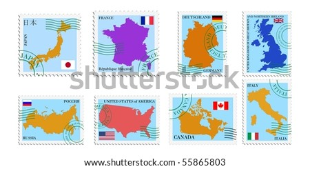 Set vector stamps of G8 countries