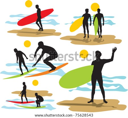 set vector surfers silhouettes