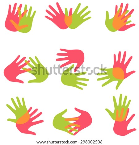 Set vector two colored hands - a collection of simple flat icons and logos
