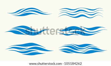 set vektor waves from element of the design - stock vector