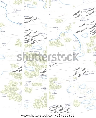 Set vertical banner of drawed map with forests, lakes, rivers, mountains, hills, cities. - stock vector